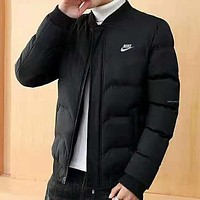 NIKE winter new trend casual plus velvet warm men's down jacket Black