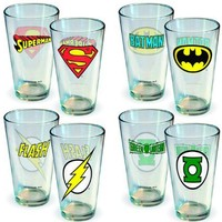DC Comics Insignia 4pc Pint Glass Set ~ Batman, Superman, The Flash, Green Lantern