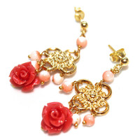 Coral Rose Earrings Gold Vermeil Scroll Vintage Angelskin Coral Handcrafted Gemstone Jewelry