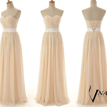 Wedding Party Custom Color Size Elegant Formal Strapless Sweetheart Chiffon Pleated Long Champagne Bridesmaid Dress Champagne Prom dress