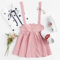 Pink Bow Back Pinafore Skirt