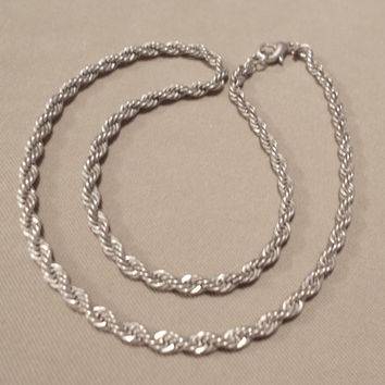 Vintage 80's 16 Inch Unisex Large Silver Rope Chain Necklace, High Fashion, Simple Elegance, Classic, Fashion Jewelry, Unisex Gift, Teen