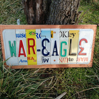 WAR EAGLE Custom Recycled LICENSE Plate Sign