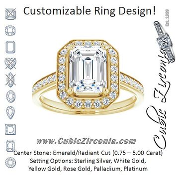 Cubic Zirconia Engagement Ring- The Natascha Eva (Customizable Cathedral-raised Radiant Cut Halo-and-Accented Band Design)