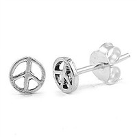 Sterling Silver Classic Peace Sign Stud Earrings