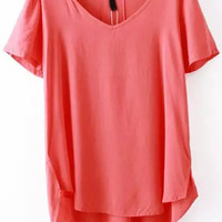 Red V-Neck Short Sleeve Long Back Top