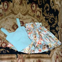 Solid Color Fashionable Tank Top and Floral Print High-Waisted Lace-Up Skirt Women's Twinset
