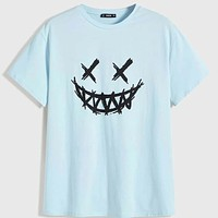 Fashion Casual Men Graphic Print Tee