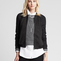 Banana Republic Womens Ponte Sleeve Bomber Jacket