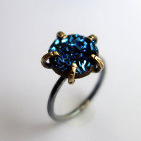 Bright Blue Drusy in Brass Prongs on Sterling Silver  Band