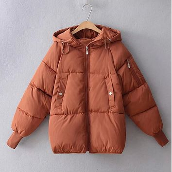 New fashion winter solid color hooded loose short sleeve cotton jacket headdress