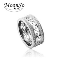 Moonso Vintage Antique Retro Plated AAA Zircon Ring for women jewelry CZ Diamond Engagement Wedding Band anillos anel T0879