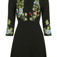 Embroidered Collar Dress - Black