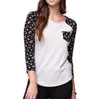 Nollie 3/4 Sleeve Fitted Raglan T-Shirt - Womens Tees