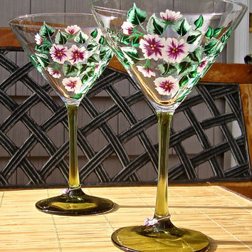 Hand Painted Martini Glasses With Plum Flowers