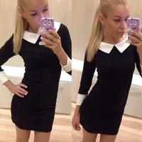 3/4 Sleeve Bodycon Dress with Collar
