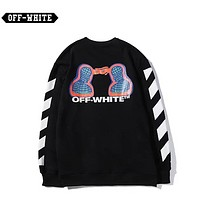 Off White New fashion letter mars boy print long sleeve top sweater Black