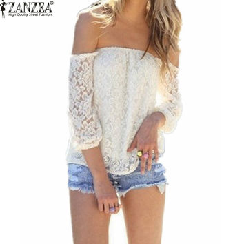 Sexy Lace Off the Shoulder Blouse