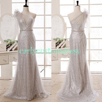 Long Silver Sequins Mermaid Bridesmaid Dress/Cheap Gold Coral Peach Red Black Prom/Homecoming/Party/Cocktail/Evening Wedding Party Dress