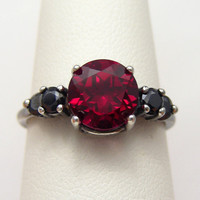 Gothic Lolita Goth Jewelry   Black Silver Oxidized Blood Red Ruby Ring 2ct Accented Ruby Goth Ring  Sized 2-16