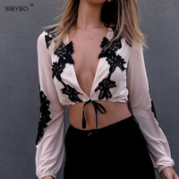 Elegant Women Crop Tops Vogue Summer Sexy Deep V Neck Long Sleeve Black Lace Chiffon Blouse Shirt Vintage Women Blouses