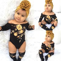 Long Sleeve Flower Romper + Leg Warmers Baby Girl Clothes