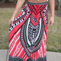 Way the Wind Blows Maxi Skirt - Red
