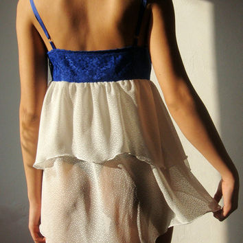 $44.00 Ready to ship White and electric blue camisole dress by WhimsyTime