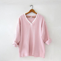 vintage pink thermo shirt. textured knit shirt. slouchy pullover. long underwear top.