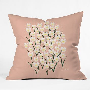 Joy Laforme Pansies in Pink and White Outdoor Throw Pillow