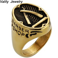 Valily barber shop decor Ring For Men Gold barber knife Ring Stainless Steel Punk Finger Ring Band Personality Jewelry anillo