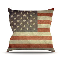 """Bruce Stanfield """"Flag of US Retro"""" Rustic Outdoor Throw Pillow"""