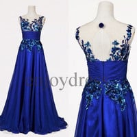 Custom Royal Blue Applique Long Prom Dresses Evening Gowns Wedding Party Dresses Party Dresses Cocktail Dress Homecoming Dresses