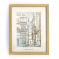 Vintage Framed Arabian Lithograph - Old Jeddah Architecture Print- A Narrow Street in the Shadows