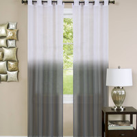 "Quintessence Set of 2 Ombre Sheer Window Curtain Panels (52"" x 84"") - Charcoal"
