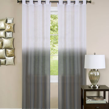 """Quintessence Set of 2 Ombre Sheer Window Curtain Panels (52"""" x 84"""") - Charcoal"""