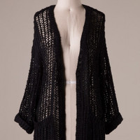 April Showers Oversized Open Knit Cardigan with Pockets - Black