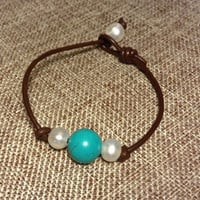 Freshwater Pearls and Howlite Turquoise Bead Dark Brown Leather Bracelet