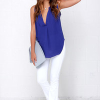 Ladies Who Brunch Royal Blue Sleeveless Top