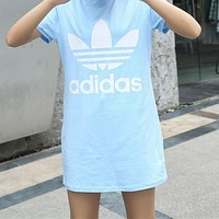Adidas Summer Popular Women Casual Print Short Sleeve Dress Blue