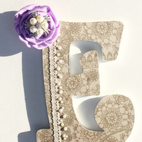 Baby Girl Nursery Letters - Lace and Pearl Letter -Shabby Chic - Country Wedding Decor - Rhinestones - Monogram - Personalized - Name