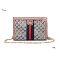 Gucci classic fashion casual wild hit color striped small square bag Messenger bag Pink