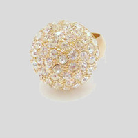 Vintage Jewelry Gold Tone Rhinestone Domed Ball Cocktail Ring Size 9.5