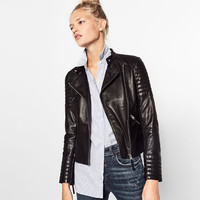 LEATHER JACKET WITH ZIPS DETAILS