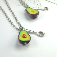 BFF Avocado Friendship Necklace (2pcs) Food jewelry food necklace, polymer clay