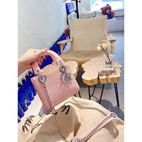 Christian Dior Women Leather Shoulder Bags Satchel Tote Bag Handbag Shopping Leather Tote Crossbody