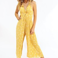 Mustard Spaghetti Strap Knot Front Jumpsuit