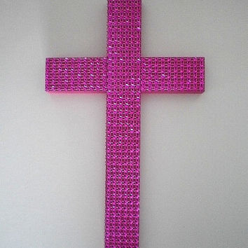 "SPARKLING PINK CROSS - Handpainted Decorative Wall Cross W/ Pink Diamond Mesh  9.5"" x 5.5"""