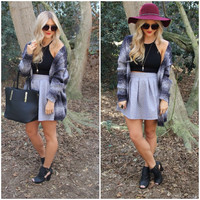 Grey Quilted Flare Skirt