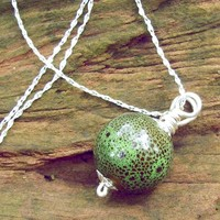 Silver Plated Chain Necklace, Green Porcelain Bead With Brown Spots